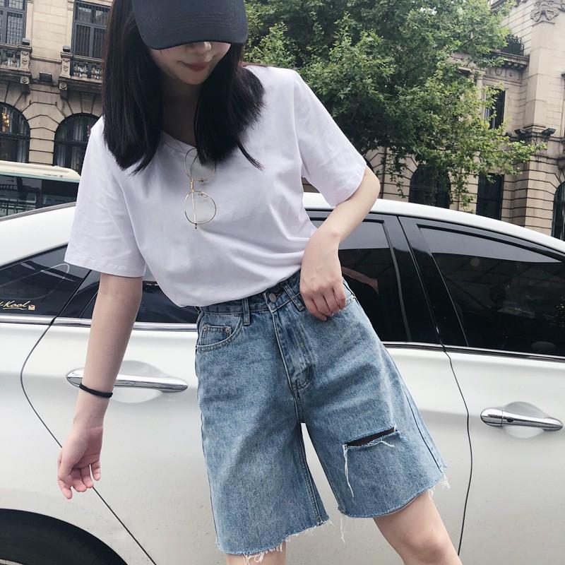 Quần Jean Ngố Nữ Rách Gấu Cá Tính Cạp Cao, Quần Bò Ngố Rách Fashion 4.0