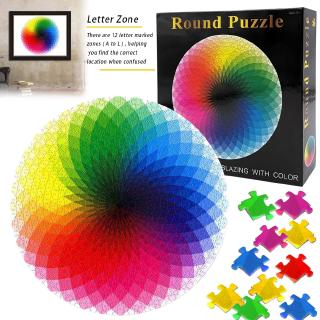 1000 Piece Puzzles for Adults Teen Gradient Color Rainbow Large Round Jigsaw Puzzle Difficult @VN