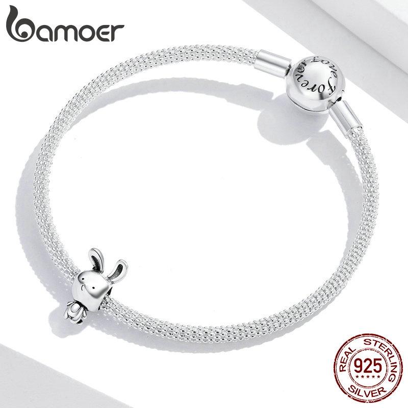Bamoer 925 Real Silver Rabbit Shape Bead Pendant Bracelet Accessories SCC1517
