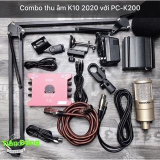 Combo Mic thu âm Takstar K200 Soundcard K10 2020 đã bao gồm dây live stream chân nguồn 48v 2 dây canon
