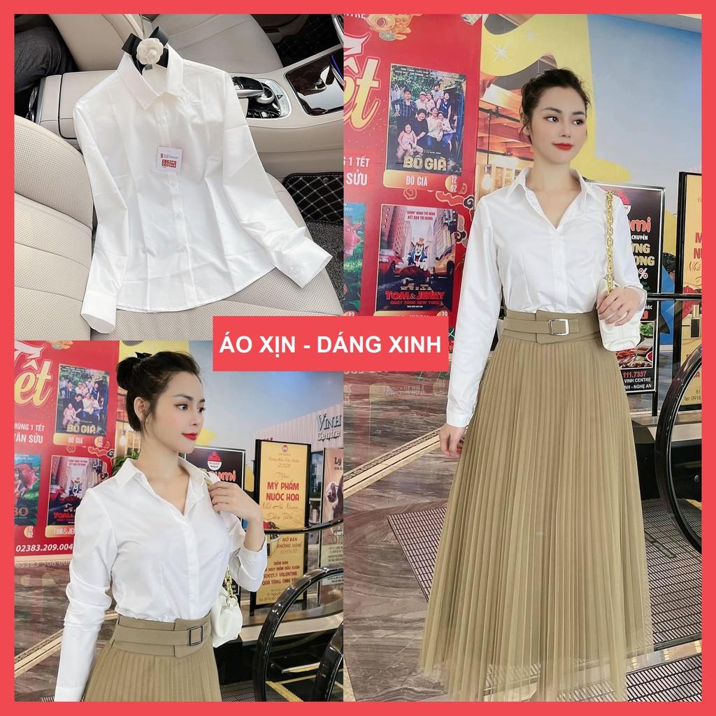 Mặc gì đẹp: Lịch sự với áo sơ mi nữ dài tay form basis, sơ mi nữ công sở thiết kế Josee' dáng eo xinh
