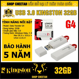 USB 3.0 Kingston 32GB DataTraveler G4 – CHÍNH HÃNG – Bảo hành 5 năm – Màu trắng thanh lịch