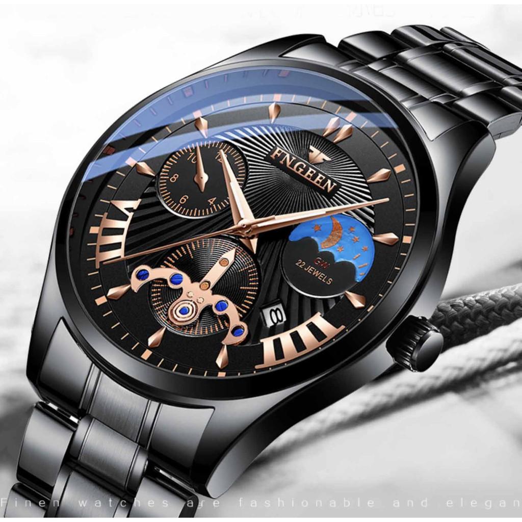 Đồng hồ nam chính hãng FNGEEN dây thép không rỉ, lên tay cực đẹp, giả cơ độc đáo (Tặng tháo mắc, vòng tỳ hưu, Mã: AF03)