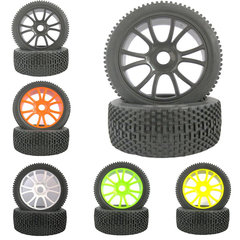 4pcs RC 1:8 Off Road Car 12 Spoke Plastic Wheel Rim & Square Pattern Rubber Tire