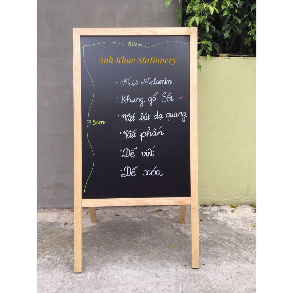 Bảng menu nhà hàng chân gỗ gấp 60*120cm (Tặng bút dạ quang, hộp phấn)