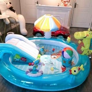 Bể bơi cầu trượt cho Bé, bể bơi có máy che , bể bơi INTEX