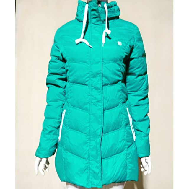 Áo khoác lông vũ dáng dài màu xanh