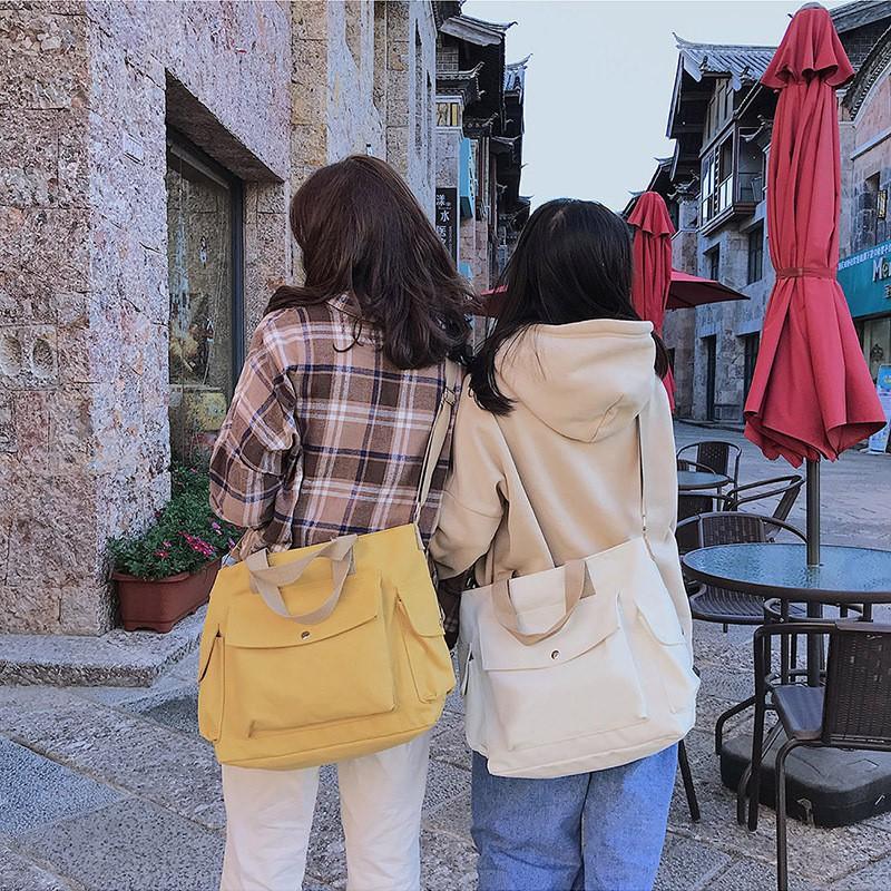 Túi đeo vải nhiều ngăn ngoài phối quai màu TX36