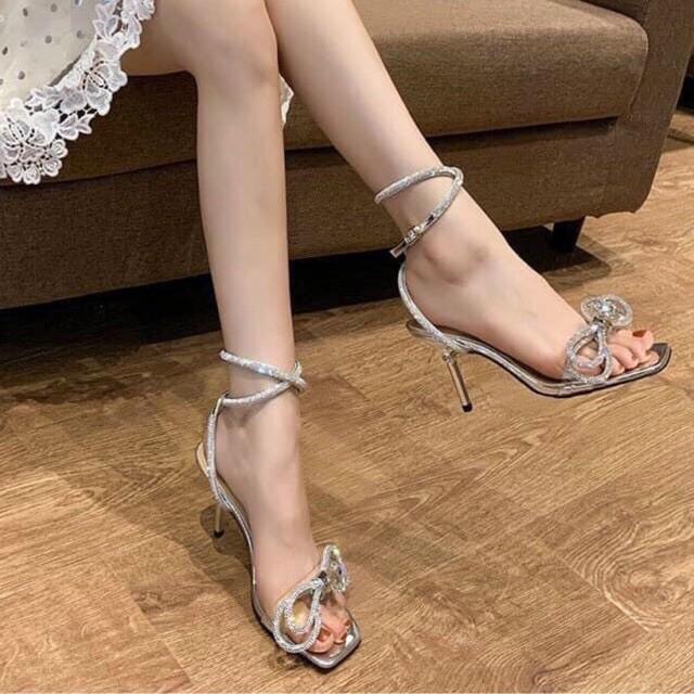 Giày 2021 Giày Sandal Công Chúa Nơ Đá Long Lanh Lấp Lánh Mùa Cưới L95