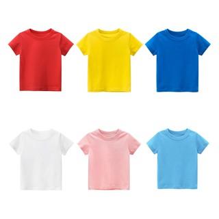 Áo phông, áo thun cho bé trai bé gái giá rẻ ,vải 100% cotton, trơn màu thumbnail