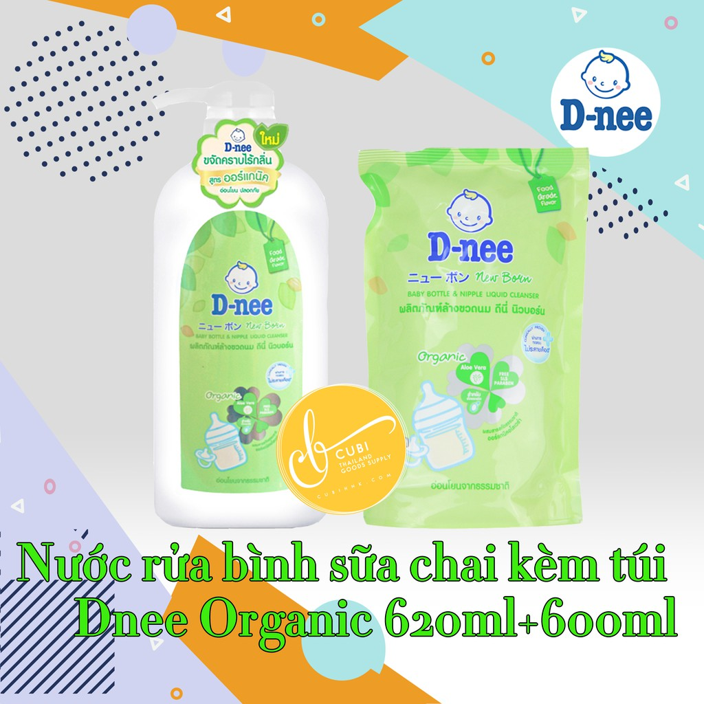 [Mã 267FMCGSALE giảm 8% đơn 500K] [Mẫu Mới] Combo chai và túi nước rửa bình sữa Dnee Thái