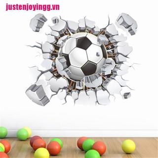 【justenjoyingg.vn】3D Flying Football Through Wall Stickers Kids Room Decor Soccer Fan Sport Poster
