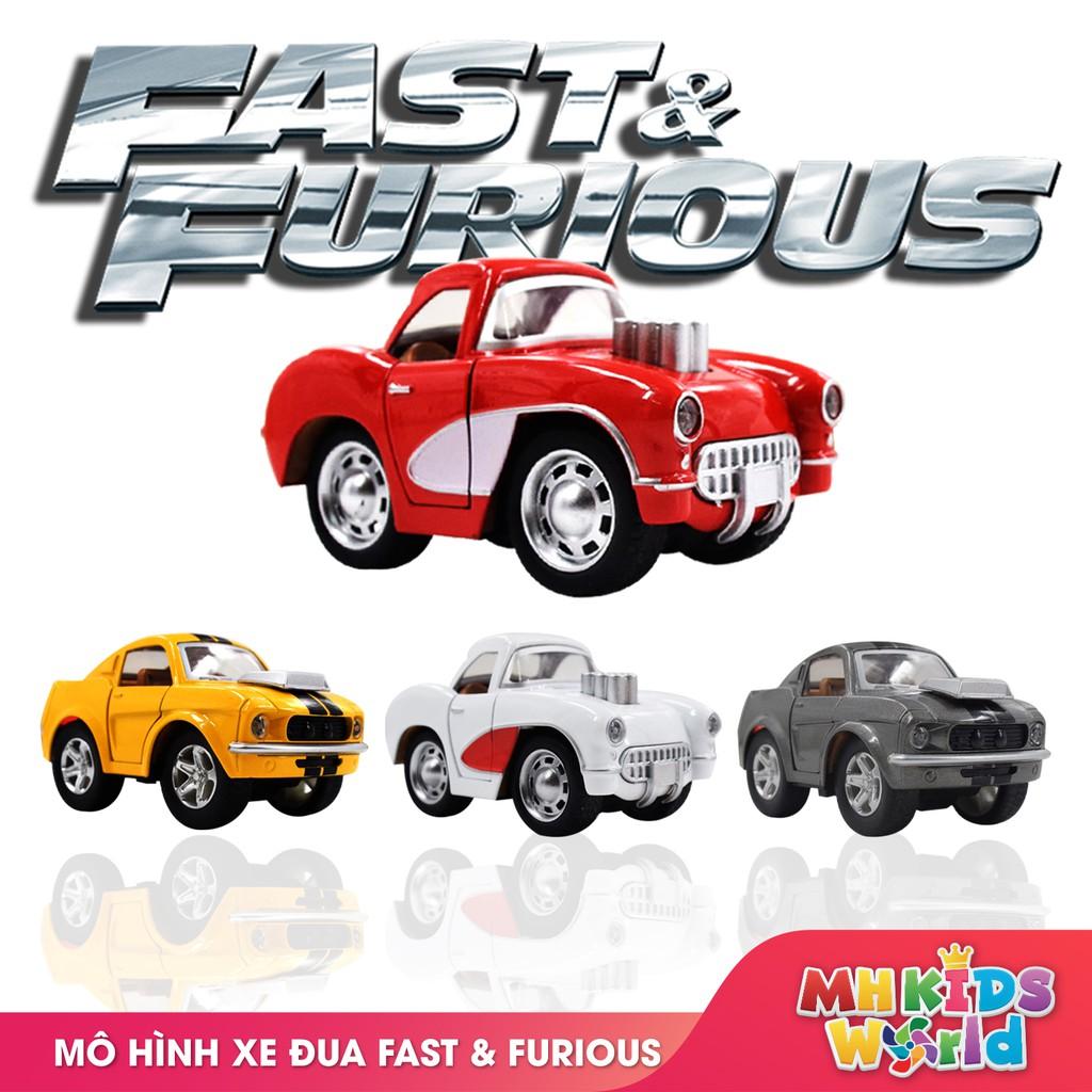 Ô tô mô hình tỷ lệ 1:36 xe đua Fast&Furious bánh đà chất liệu hợp kim đồ chơi an toàn cho bé lứa tuổi 3+