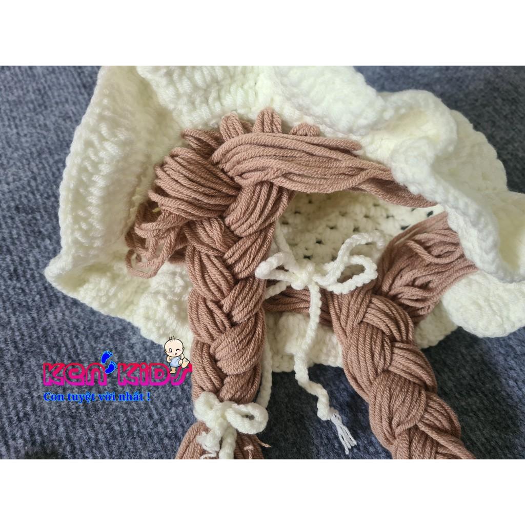 Nón mũ len mềm Cherry kèm bím tóc giả cho bé (4-24th)