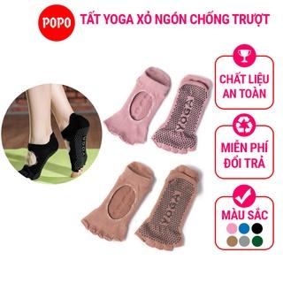 Vớ hở ngón Yoga POPO tất chống trượt cao cấp tập thể dục chống trượt êm ái, tránh hôi chân, đảm bảo an toàn YGS6 thumbnail