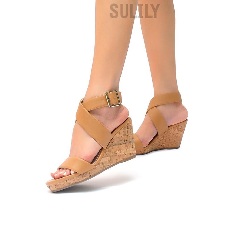 Sandal Xuồng Quai Bản Lớn Sulily NÂU