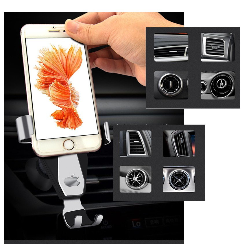 [Hàng đắt] giá đỡ điện thoại trên ô tô gắn cửa gió điều hòa - hợp kim nhôm cao cấp