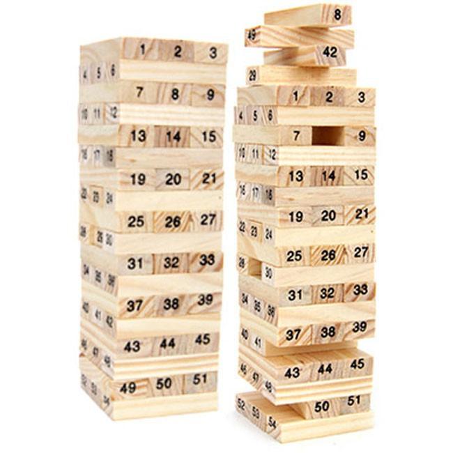 Trò chơi rút gỗ 54 thanh kèm 4 xúc xắc 0079843 KHO TỔNG