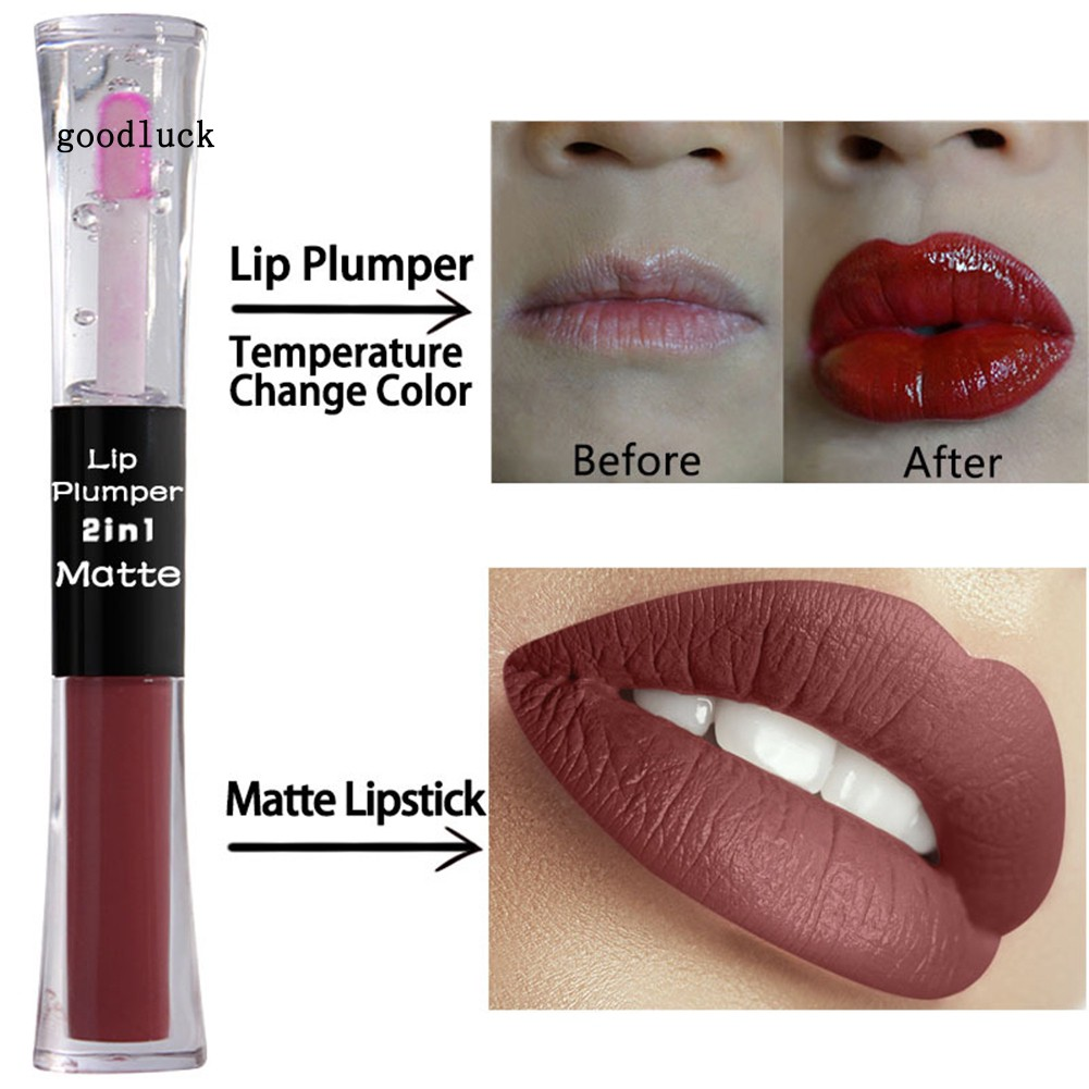 GLK_Tree Inside 2 in 1 Matte Temperature Change Lip Gloss Oil Plumper Women Cosmetic