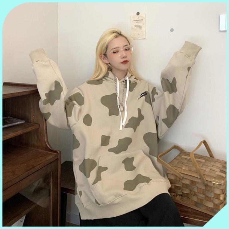 Áo Hoodie Tay Dài In Hình Bò Sữa Xinh Xắn Cho Nữ