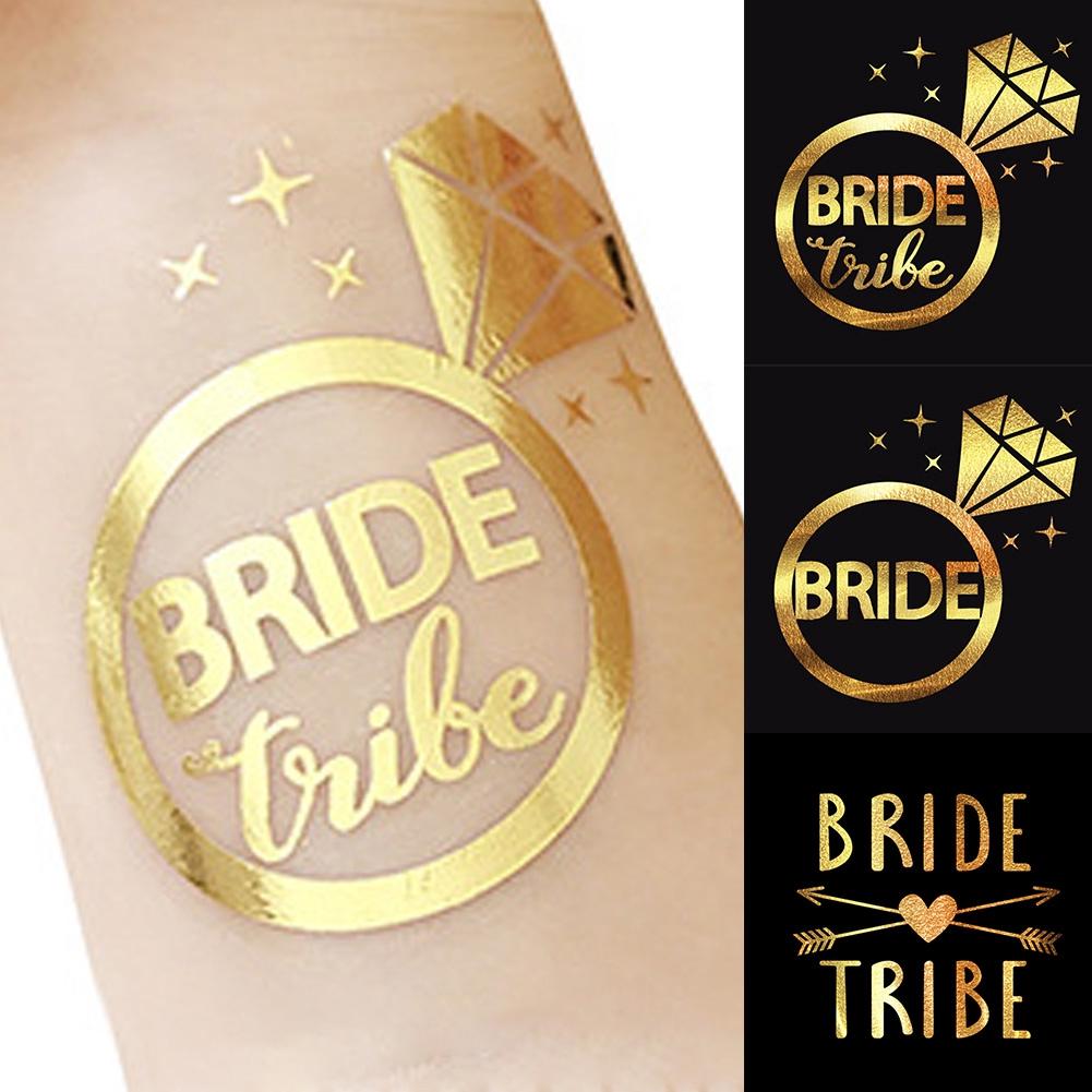5Pcs Bride Tattoos Sticker Gold Temporary Hens Night Team Willy Diamond