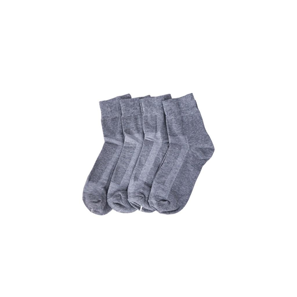 (FREESHIP HN VS TPHCM) Combo 4 đôi cổ trung trơn cotton cao cấp màu xám nhạt hàng Việt Nam