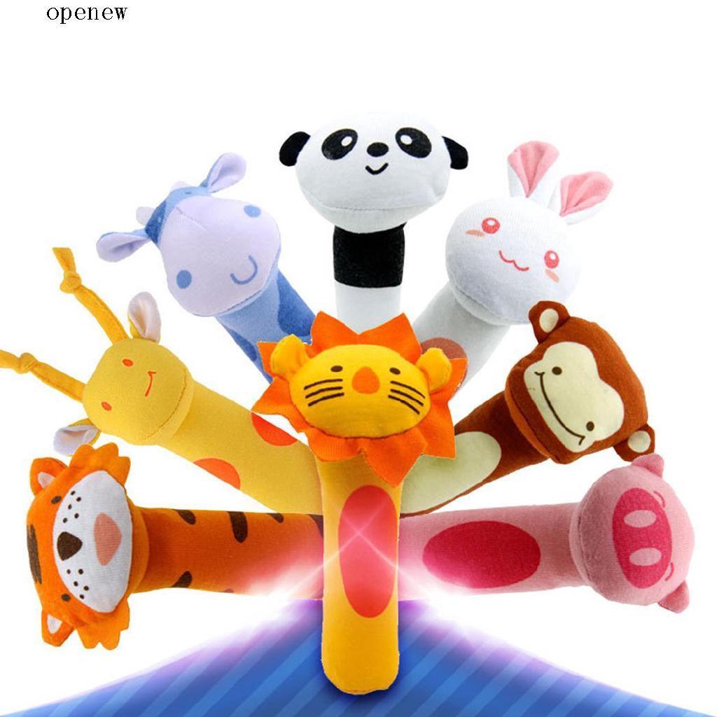 Cute Animal Shape Soft Make Sound Rattle Baby Handheld Toy