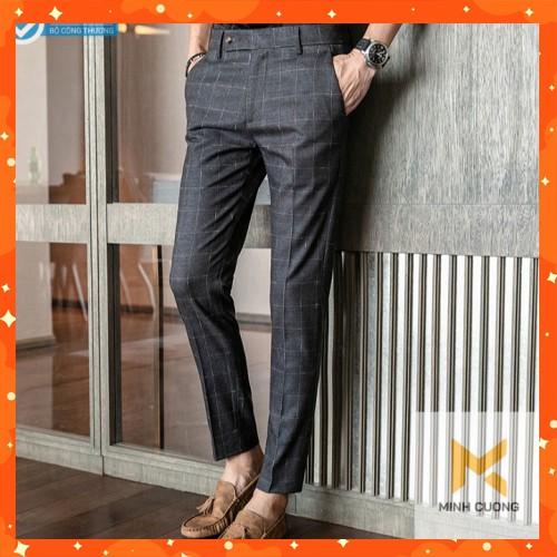 Quần tây nam kẻ caro , ống côn, vải cotton cao cấp phối siêu hợp với áo sơ mi, giày da