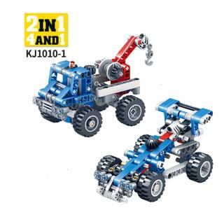 Lego xếp hình 2 trong 1: Máy Xúc, Máy Lu, Xe Tải, Xe Cần Cẩu, Xe Đua, Xe Địa Hình