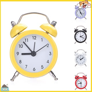 SPBS_Mini Round Metal Alarm Clock Desk Stand Clock for Home Room Kitchen Office