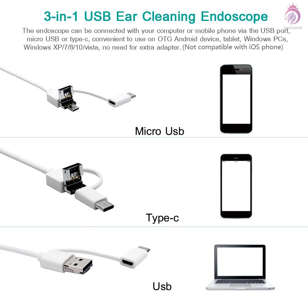 3-in-1 USB Ear Cleaning Earpick Endoscope LED Light Multifunctional Borescope Inspection Camera 0.3MP Visual Ear Spoon Health Care Cleaning Tool...