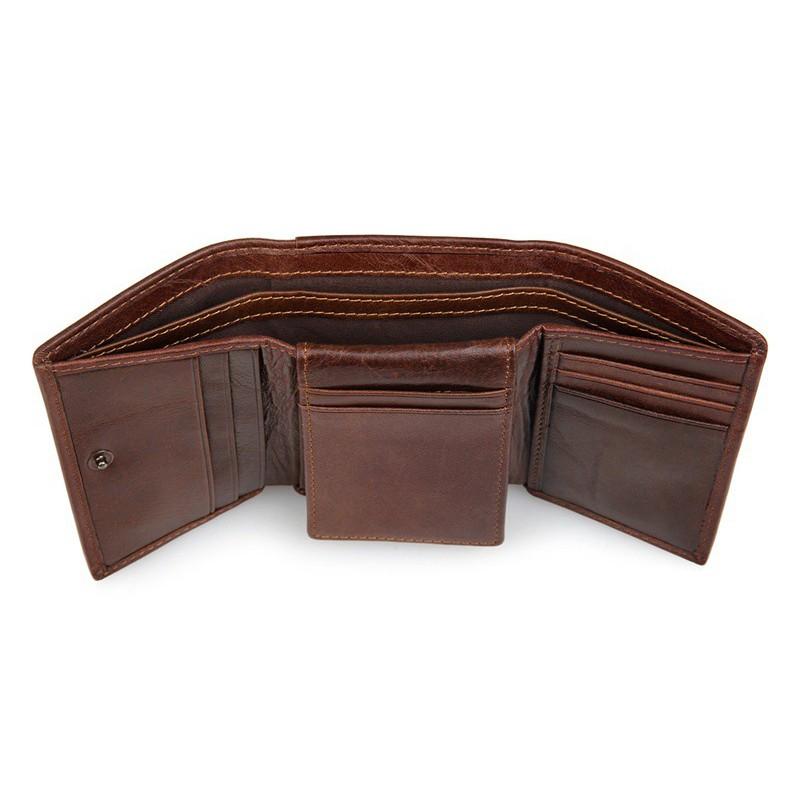 Bóp ví đứng gấp 3 da bò cao cấp