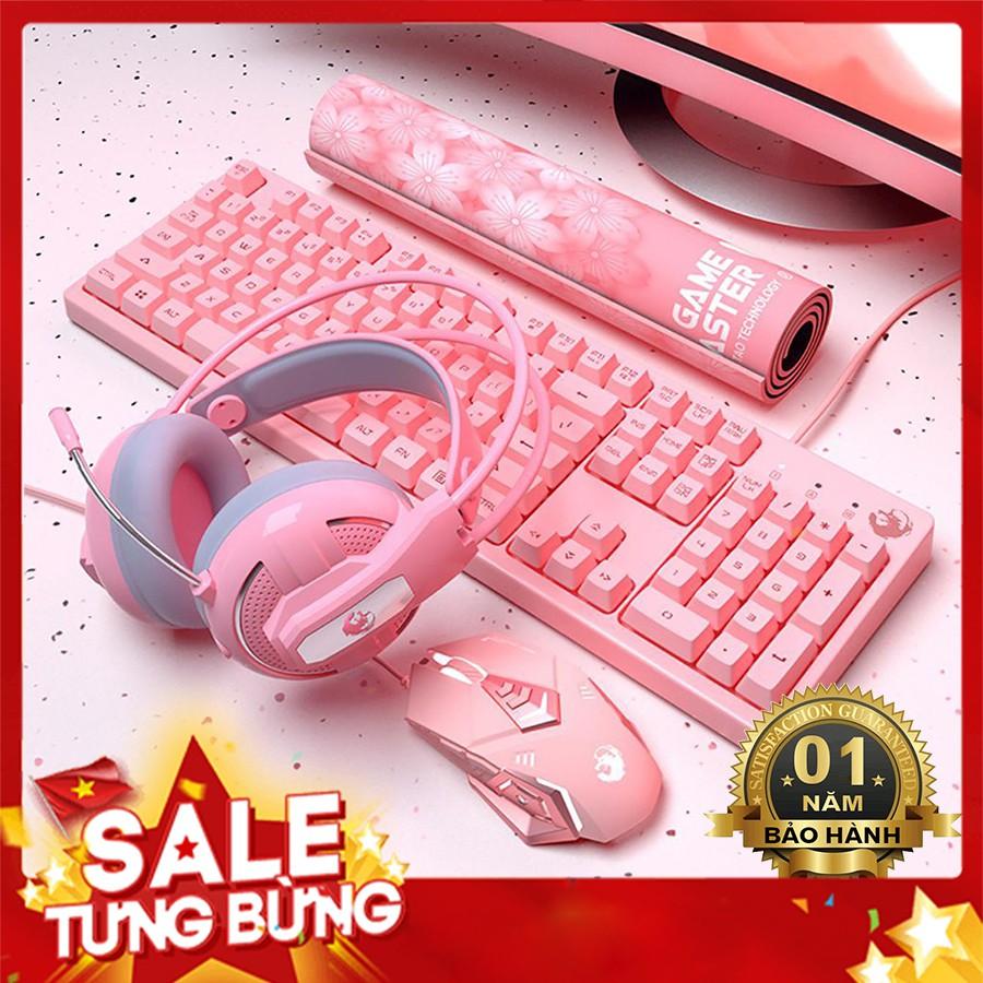 Combo Bộ Bàn Phím Giả Cơ Hồng LongTao - Chuột Gaming - Tai Nghe - Lót Chuột Hello Kitty Bigsize ( BH 1 năm )