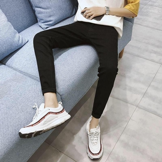 Autumn and winter black cropped feet stretch jeans slim fit cropped trousers trendy pants for men and teenagers