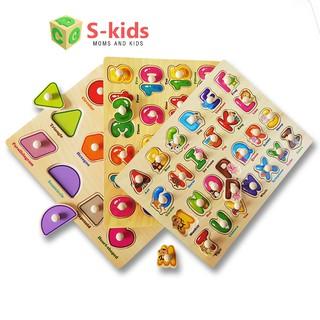 Đồ chơi trẻ em thông minh - Combo 3 bảng ghép hình núm gỗ.