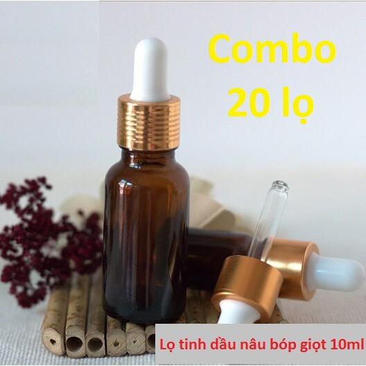 Combo 20 Chai tinh dầu nâu bóp giọt 10ml