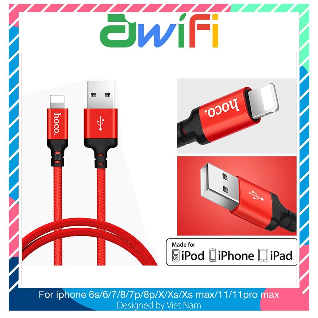 Dây cáp sạc Hoco x14 Linghtning cho iPhone, iPad Pin Dự Phòng Cáp Sạc Tai nghe Bluetooth Airpod i12 tws- Awifi Case H4-7
