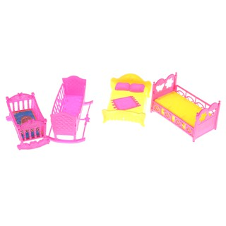 SUN11❤ Barbie Doll Furniture Rocking Cradle Bed Girls Gift Mini Dolls House