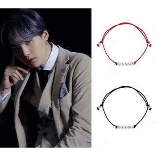 vòng tay handmade đen đỏ Suga BTS