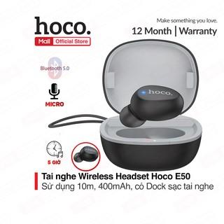 Tai nghe Wireless Headset Hoco E50 dung lượng 400mAh ( gồm cả dock sạc ) bluetooth 5.0, sử dụng liên tục 5 giờ