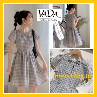 Đầm xòe caro , nơ sau kiểu tiểu thư xinh yêu dễ thương, dự tiệc cưới đi chơi , dạo phố Thời Trang VADA - Đ125 thumbnail