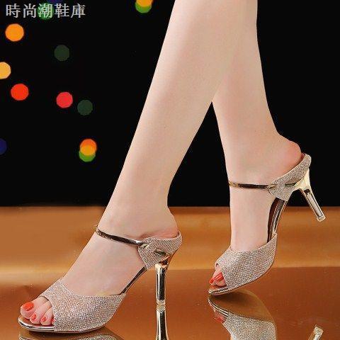 Giày sandal cao gót hở mũi thời trang cho nữ