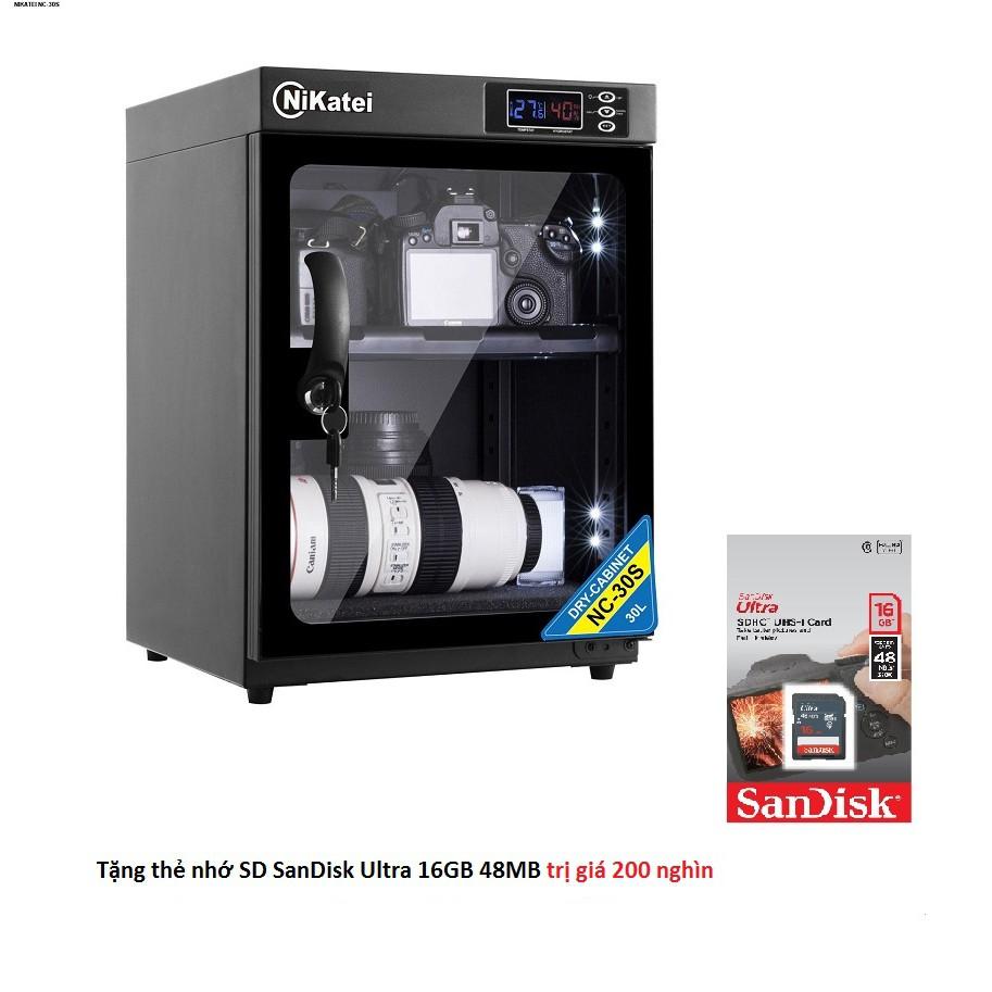 Tủ chống ẩm Nikatei NC-30S (30L) + tặng thẻ nhớ 16GB 48MB/s (chính hãng)