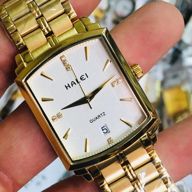 Đồng hồ nam Halei HL-570 mặt vuông chính hãng chống nước