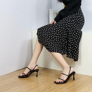 Hình ảnh [Mã FASHIONMALLT4 giảm tới 30K đơn 150K] Giày cao gót Erosska phối dây xỏ ngón cao 7cm màu trắng _ BM004-3