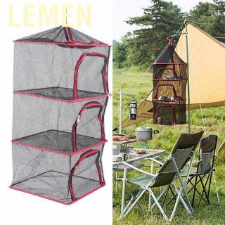 Lemen Drying rack hanging outdoor folding 4 layers storage basket for camping picnic bag dry net drying