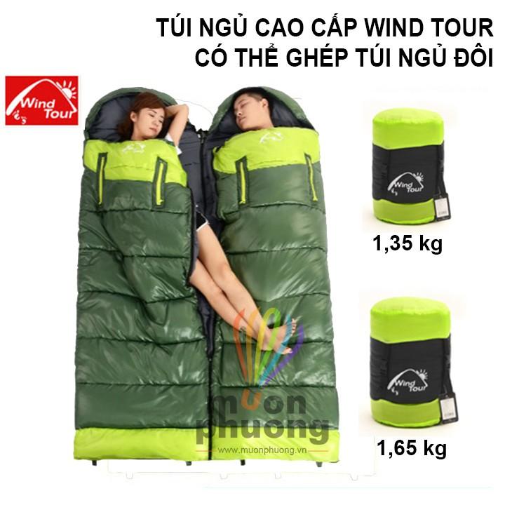 [FRSHIP 70K] Túi ngủ cao cấp Wind Tour 1,3 - 1,6kg ghép túi ngủ đôi văn phòng du lịch cắm trại- [MUÔN PHƯƠNG SHOP]