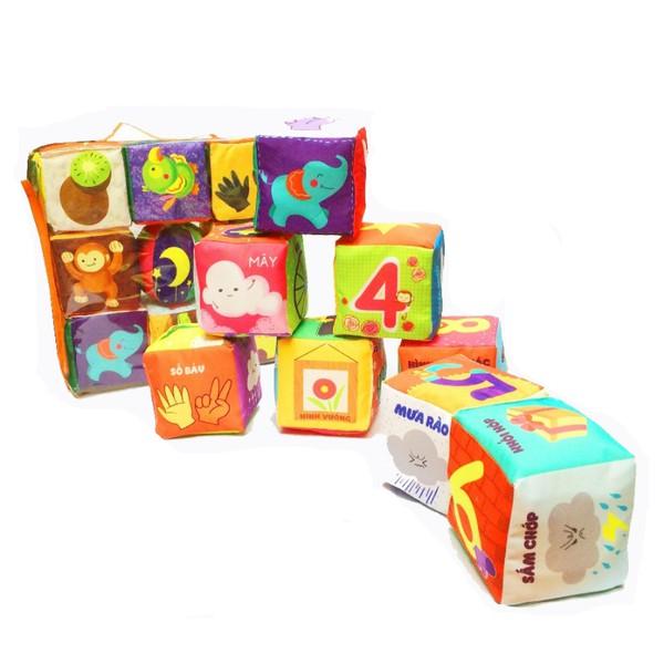 đồ chơi vải cho bé - ĐỒ CHƠI SẠCH Bộ xúc xắc Khối hình vui nhộn
