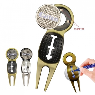 Top Store❤ Golf Multifunctional Green Ball Fork Golf Repair Tool Golf Repair Tool Magnet Golf Divot Tool