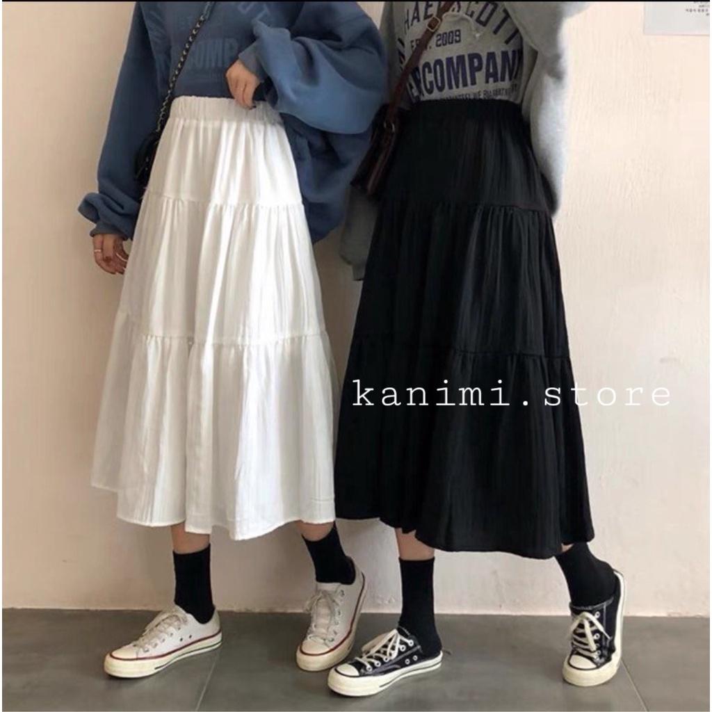 Chân váy dài xếp ly 3 tầng Ulzzang KANIMI - Chân váy dài dáng xoè (chất đẹp)